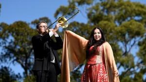 Sydney Symphony Orchestra trombonist Scott Kinmont and Ayse Goknur Shanal, Opera Australia soprano soloist at Parramatta Park. Picture: Justin Sanson http://www.dailytelegraph.com.au/