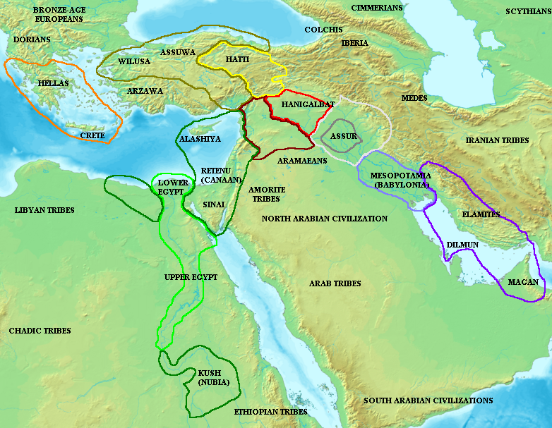 amarnamap Map of the ancient Near East during the Amarna period, showing the great powers of the period: Egypt (green), Mycenaean Greece (orange), Hatti (yellow), the Kassite kingdom of Babylon (purple), Assyria (grey), and Mitanni (red). Lighter areas show direct control, darker areas represent spheres of influence.